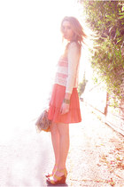 mustard Ruche wedges - coral Urban Outfitters dress - ivory Urban Outfitters top