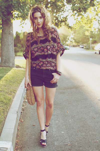 floral print Urban Outfitters shirt - boho bag Mossimo bag