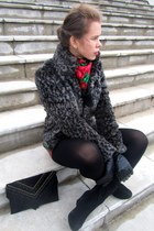 Pimkie coat - Della boots - Zara sweater - Calzedonia tights - new look shorts