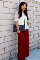 crimson wide leg Forever21 pants - ivory crochet Urban Outfitters sweater