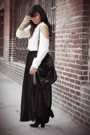 black Zara skirt - black Zara boots - black Marc by Marc Jacobs bag