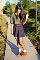 tawny Jeffrey Campbell wedges - gray cropped DIY top - brown thrifted belt - nav