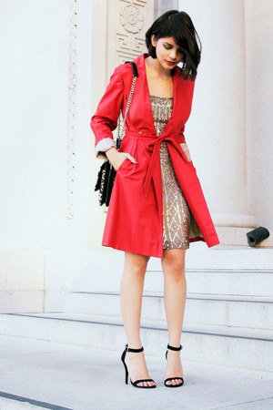 red banana republic coat - gold SCALA dress - brown leopard Kurt Geiger bag