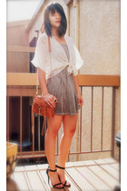 ivory kimono Urban Outfitters top - camel brandy melville dress