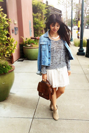 ivory brandy melville dress - tan mark Report boots