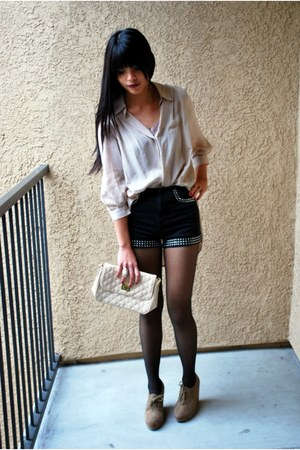 black studded Topshop shorts - peach quilted asos bag