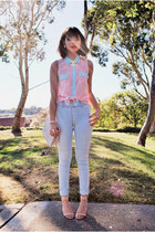 light pink blouse stud Papaya clothing shirt - light blue H&M jeans
