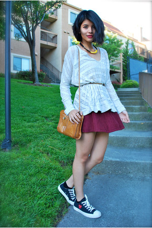 brick red corduroy American Apparel skirt