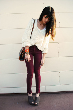 ivory floral American Apparel jumper - crimson Urban Outfitters jeans
