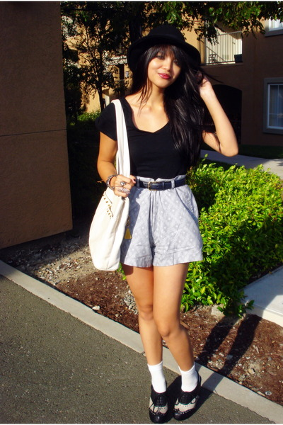 black H&M hat - gray Urban Outfitters shorts - black Jeffrey Campbell shoes - be