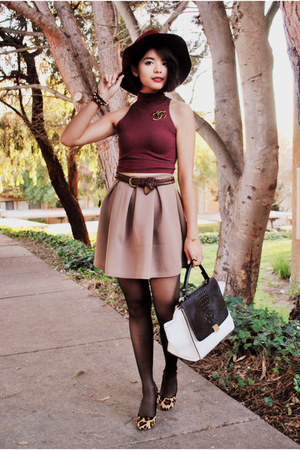 maroon American Apparel top - maroon H&amp;M hat - white Mimi Boutique bag