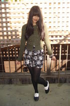 green H&M cardigan - gray H&M skirt - black Urban Outfitters shoes