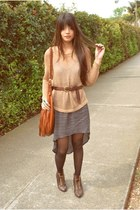 bronze crochet H&M sweater - tawny H&M bag - dark brown thrifted belt - navy asy