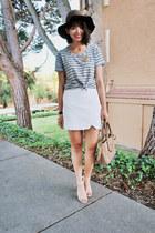 white Zara skirt - brown Urban Outfitters hat - light brown tory burch bag