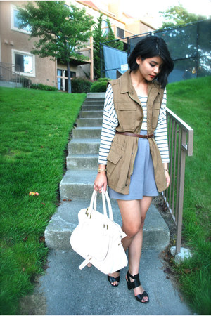 tan Urban Outfitters vest - ivory satchel Mimi Boutique bag