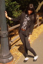 black vintage blazer - blue thrifted blouse - black Denimocracy pants - white Ur