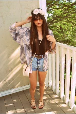 light pink kimono H&amp;M top - peach asos bag - light blue Levis shorts