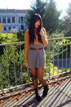 beige vintage top - gray Forever 21 skirt - brown thrifted belt - black Forever