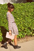 dark brown asos boots - white ClubCouture dress - ivory vintage chanel purse - b