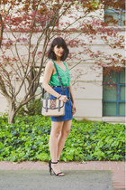 green StyleMint top - tan leopard Handbag Heaven bag