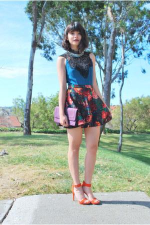 teal lace Crossroads Trading top - deep purple clutch Mimi Boutique bag