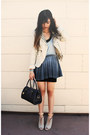 Light-blue-ombre-style-stalker-dress-ivory-diy-studded-guess-jacket