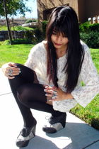 white lace vintage dress - black Jeffrey Campbell shoes