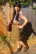 pink H&M top - beige vintage skirt - brown thrifted belt - brown Forever 21 boot