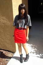 red American Apparel skirt - gray DIY shirt - blue thrifted belt - black GoJane