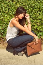 navy custom bootcut INDI jeans - brown envelope Swellmayde purse