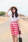 Red-midi-thrifted-vintage-skirt