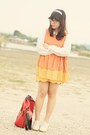 Orange-dress-beige-oxfords-heels