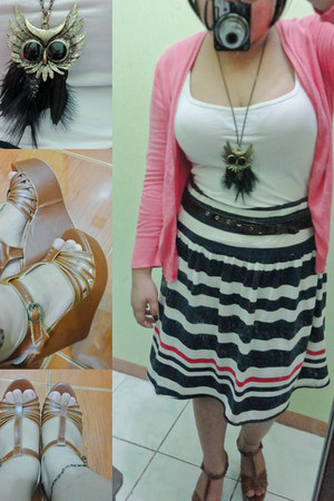 stripes skirt - bubble gum blazer - tawny brown strappy wedges - necklace