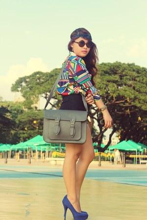 scarf print vintage blouse - Cole Vintage bag - Payless heels
