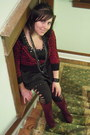 Maroon-ana-boots-black-soho-dress-black-rip-detail-victorias-secret-leggings