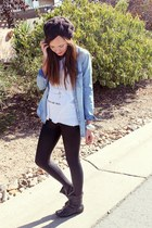 sky blue chambray H&M top - white tank top brandy melville top