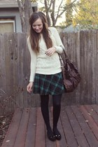dark green plaid skirt H&M skirt - cream cable knit Forever 21 sweater