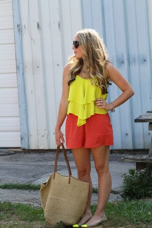 yellow asos shirt - camel Target bag - carrot orange H&M shorts