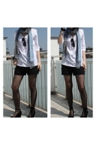 camaieu top - H&M scarf - vintage shorts - Deichmann shoes - Vans accessories