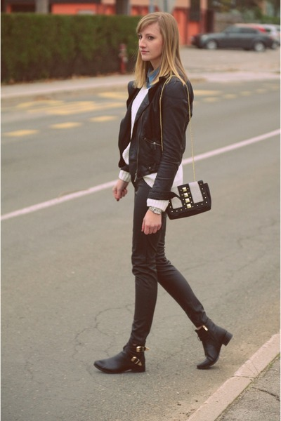 leather H&M bag - Zara jacket - H&M pants