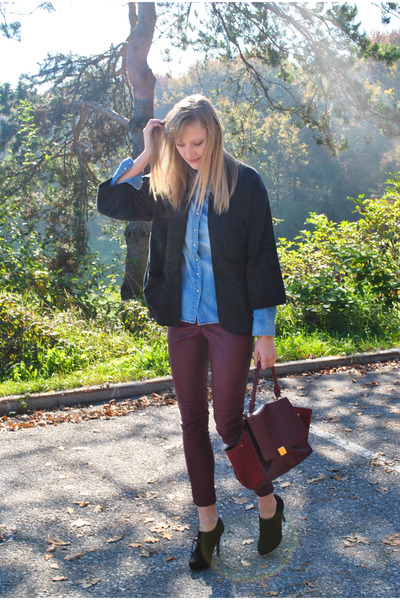 kimono Zara jacket - denim H&M shirt - trapeze Ebay bag - leather H&M pants