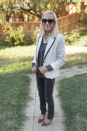 white polkadots merona blazer - brick red pointy-toe Sam & Libby heels