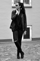leather vagabond boots - H&M jeans - leather Zara jacket - COS blouse