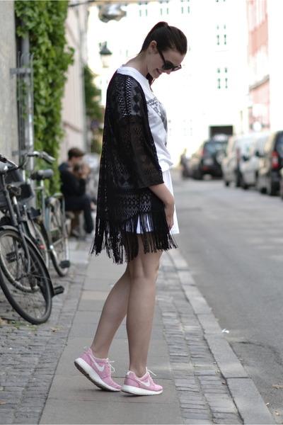 black H&M sunglasses - black H&M cardigan - white asos skirt