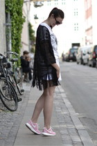 black H&M sunglasses - black H&M cardigan - white asos skirt
