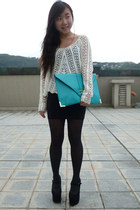 black black bodycon Zara skirt - aquamarine asos bag