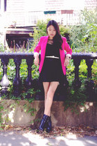 black OASAP dress - black Pink & Pepper boots - hot pink romwe blazer