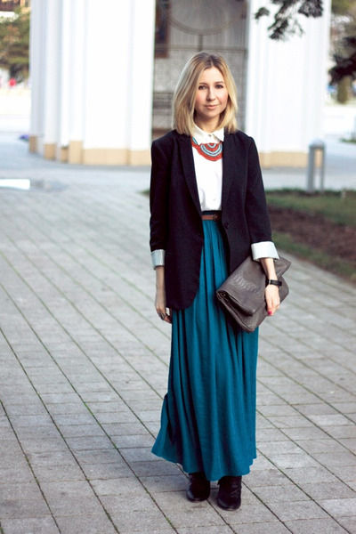 teal Zara skirt - navy Topshop blazer - heather gray Mango bag
