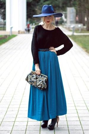 blue Zara hat - black H&M sweater - navy new look bag - teal Zara skirt