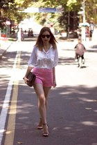 bubble gum Zara shorts - black Zara shoes - heather gray Mango bag